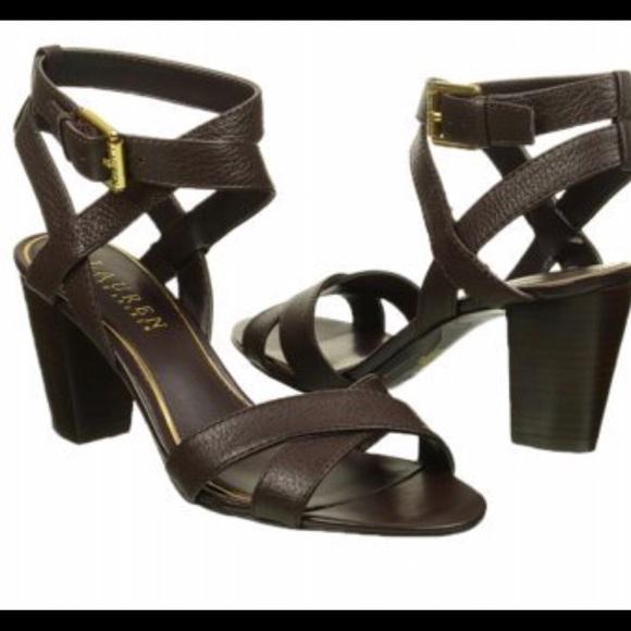 Ralph Lauren Black Leather Luna Sandal